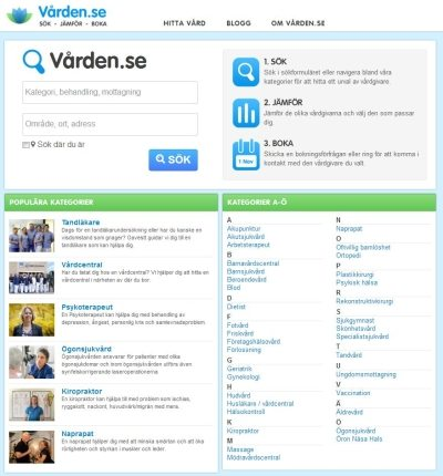 Vården.se:s nya förstasida