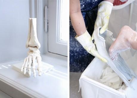 Skelett av fot, gjuter sulor
