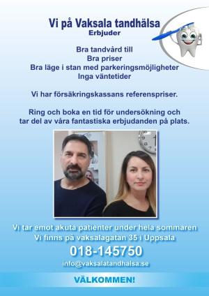 Reklamblad från Vaksala Tandhälsa